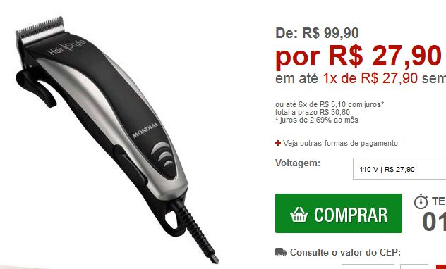 Máquina de Cortar Cabelo Hair Stylo Mondial << R$ 2790 >>
