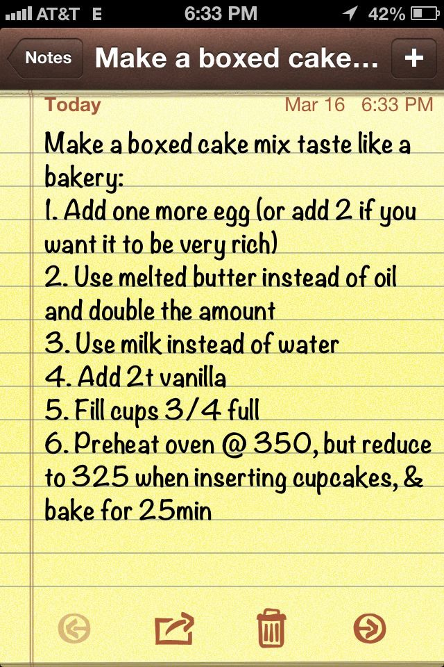 Make a boxed cake mix taste like a bakery.  I need to give this a try.