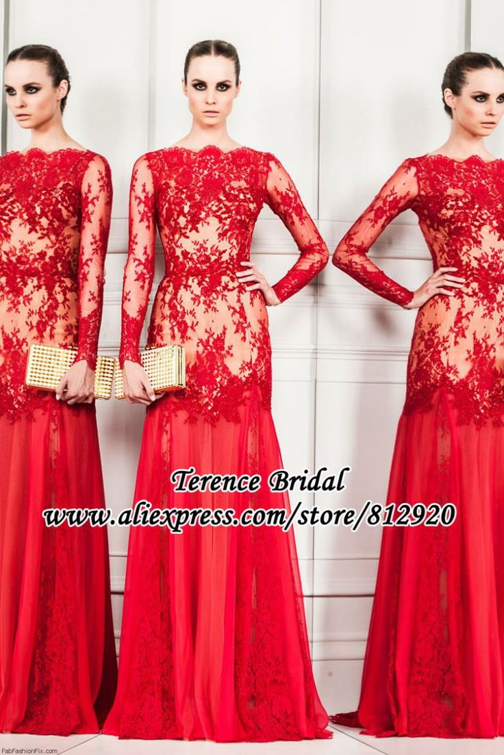 Elegant Red Lace and Nude Satin See Through Chiffon Skirt Long Sleeve Evening Dress 2014 $179.99