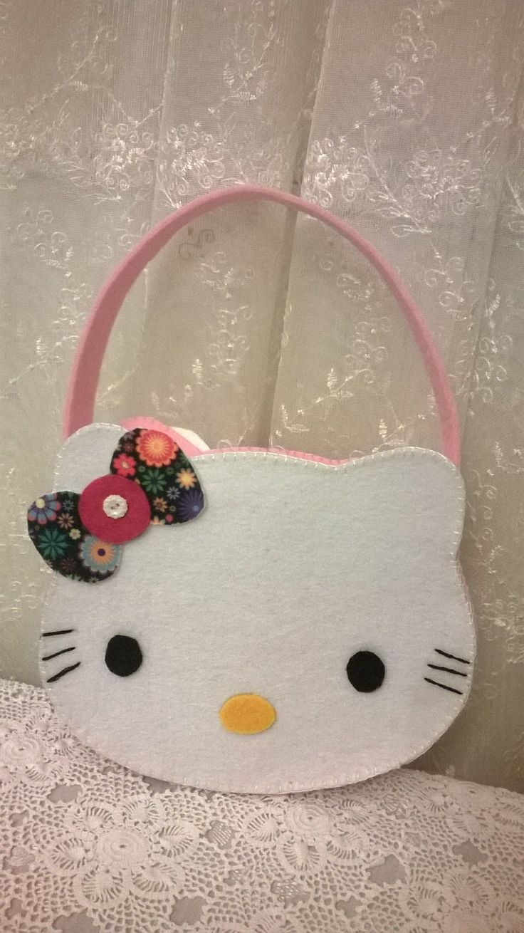 felt, felt bag, felt for kids, felt bag hello kitty, hello kitty, keçe çanta, keçe hello kitty çanta