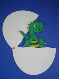 Hatching Baby Dinosaur -- made in preschool storytime 9/28/12; all the kids loved it.