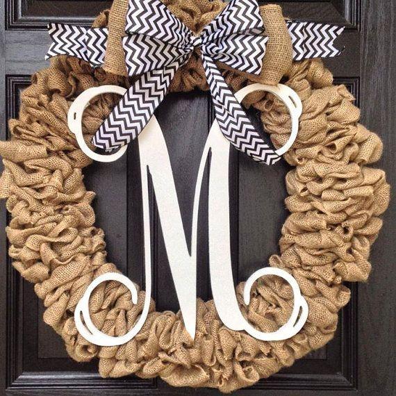 Large burlap wreath// monogram chevron burlap wreath // black and white chevron bow on Etsy, $125.00