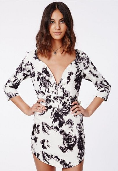 Wenna White Floral Plunge Dress - Dresses - Missguided