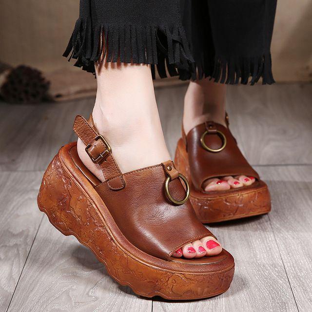2017 натуральная кожа сандалии женщин клин толстым дном лето женская обувь на высоких каблуках туфли