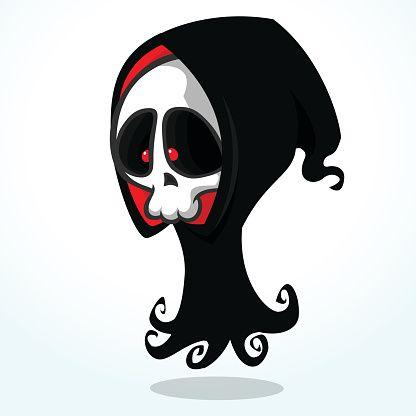 ilustração dos desenhos animados do vetor de assustador morte do Ceifador do Dia das Bruxas - Ilustração