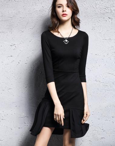 Black Ruffled Plain Mini Dress. VIPme.com offers high-quality Day Dresses at…