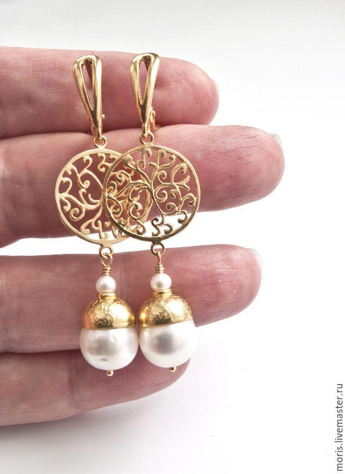 """Купить Жемчужные серьги из серебра """"Жемма"""" позолота ... - жемчужные серьги серебро, жемчужные серьги золото"""