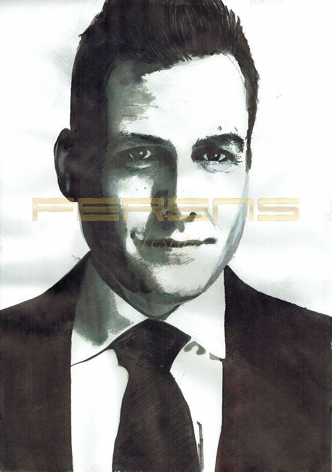 ferens design , rysunek , grafika , ilustracje , joanna ferns - hofman , harvey specter , the suits