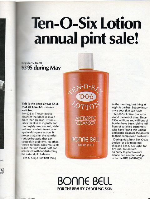 Bonne Bell Ten-O-Six lotion  Seventeen Magazine, May 1982