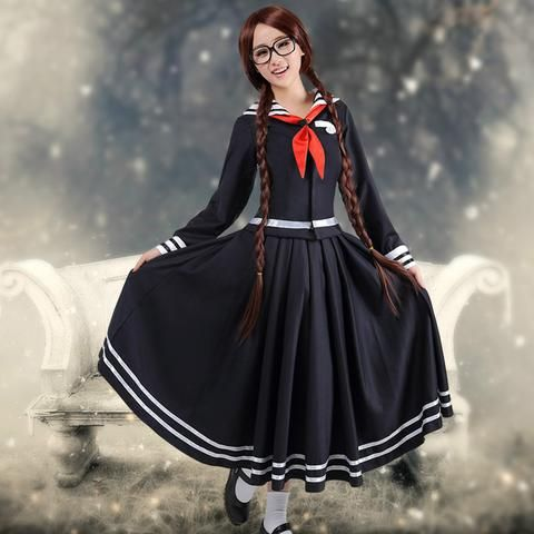 Anime Danganronpa Kusakawa Fuyuko cosplay Costume for girls School uniforms navy dress Sailor Moon Costumes - Hespirides Gifts