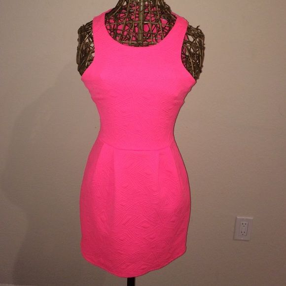 Neon pink Dress Neon pink worn once condition 10/10! Super cute! Streth type material Love republic Dresses
