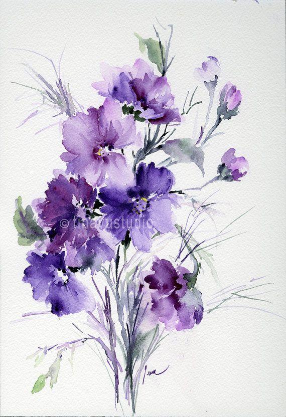 pintura abstracta original, arte abstracto, abstractos flores acuarela abstractas, acuarela de flores, obras de arte originales, pequeñas obras de arte, púrpura