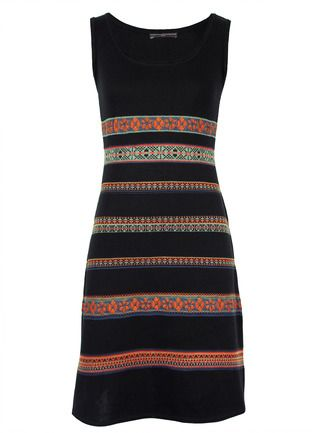 Banded in patterns from an Andean manta, our sultry black tank dress is jacquard knit of pima in a fit-and-flare style.