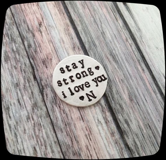Stay strong i love you, Pocket Token, Love Token, Golf ball Marker, Military Deployment, Sobriety Gift