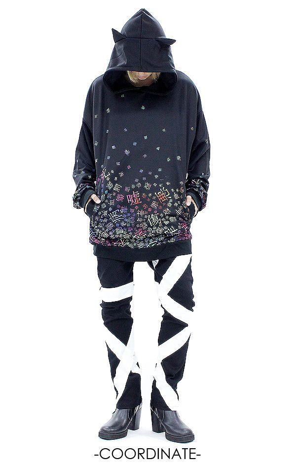 病みかわいいバラバラネコ耳プルオーバーパーカー -スーパービッグ- ankoROCK(アンコロック) メンズ レディース ユニセックス ステージ 衣装fashion/Visual kei/goth/