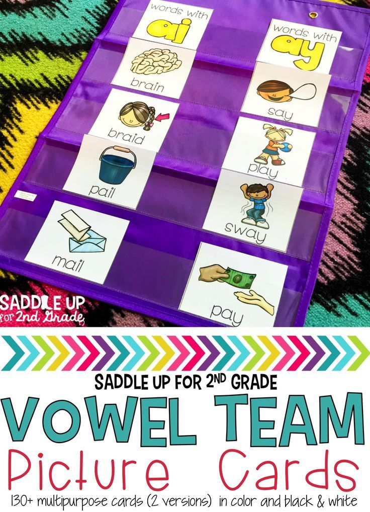These long vowel picture cards can be used in multiple ways. Two versions are included and each version contains over 130 long vowel cards. The first set includes just pictures and the second set includes a picture and a word. Both sets for each vowel team come in color and black and white.