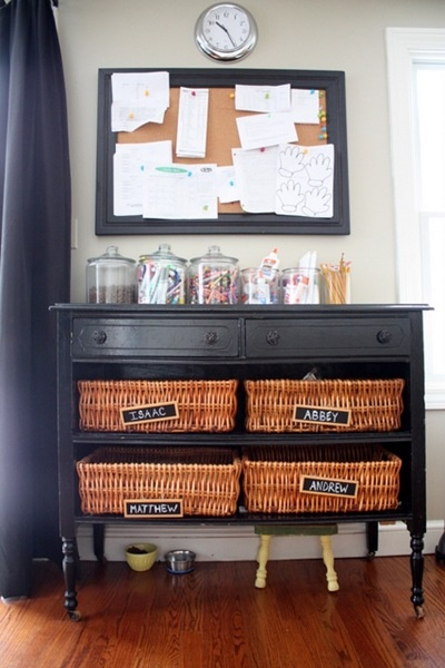 Great idea for organizing the kids (and Jeff's) stuff