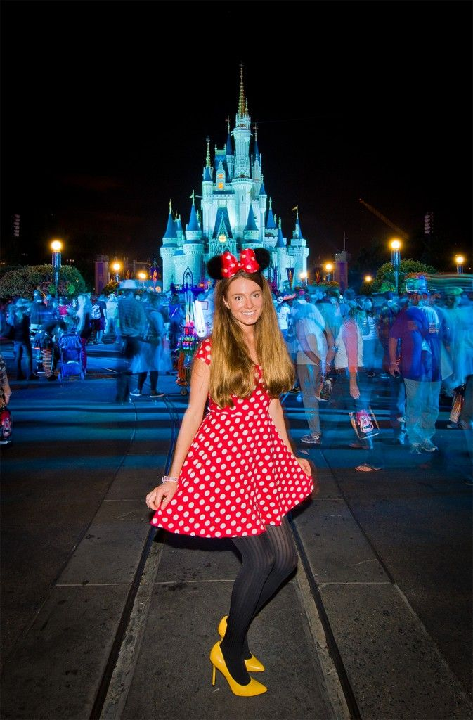 "Sarah's ""Cute Minnie"" MNSSHP costume #Disney More details: http://www.disneytouristblog.com/sarah-bricker-mickeys-not-so-scary-halloween-party-costume/"
