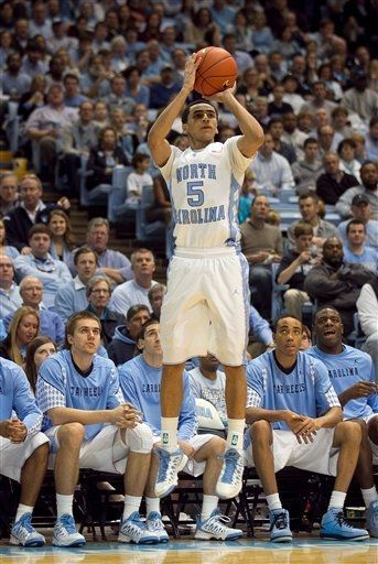 North Carolina's Marcus Paige (5) shoots against Virginia Tech in the second half of an NCAA college basketball game on Saturday, Feb. 2, 2013, in Chapel Hill, N.C.