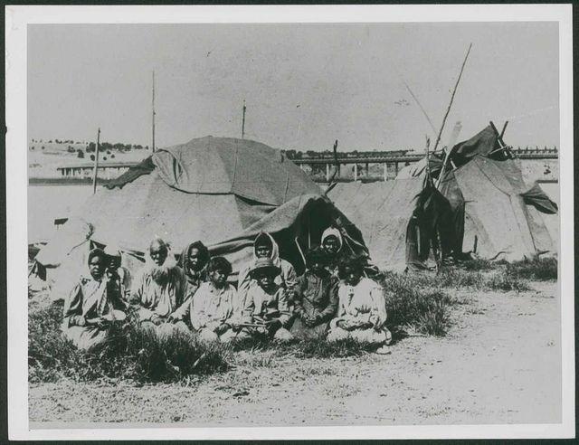 Aboriginal Riverside Camp, Mobilong, Murray Bridge, South Australia 1870