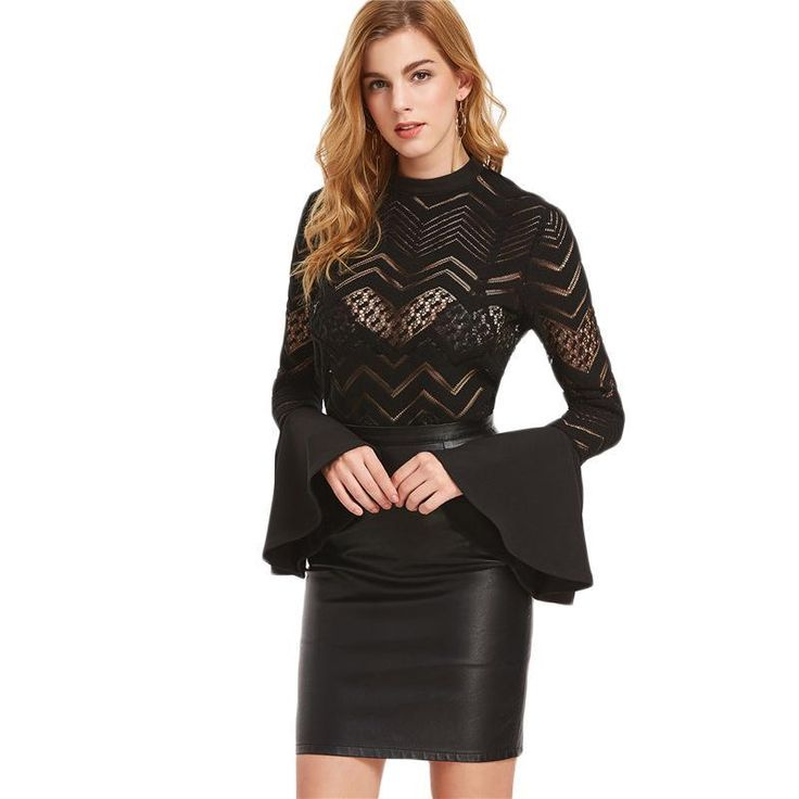 Dolly Mixture Black Lace Flare Sleeve Top