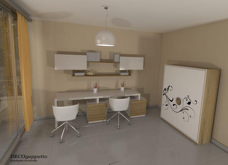 Παιδικό / εφηβικό δωμάτιο με διπλό γραφείο και ντουλάπα σε λευκή απόχρωση λάκας και ανοιχτής δρυς .