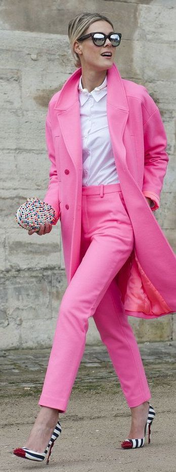 Sometimes you just need a fully pink jacket and pant set to make the day bright and beautiful!