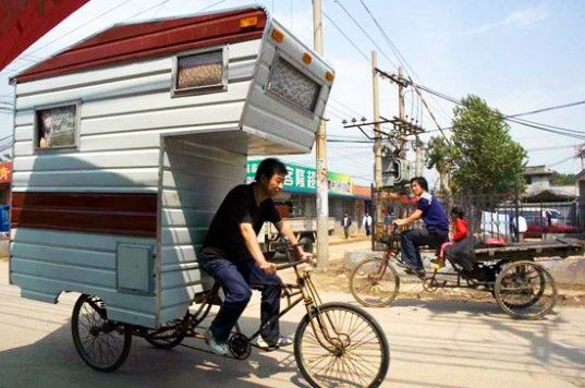 """pedal power - """"There's a sense of freedom in loading up your RV with all you need to survive and hitting the road"""" so Boston artist, Kevin Cyr designed the Camper Bike, a fully functioning RV and subject of a number of paintings"""