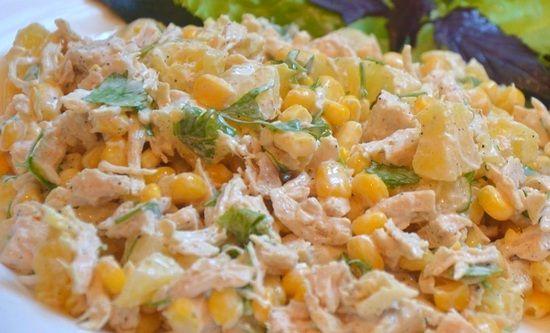 Салат с курицей кукурузой ананасом