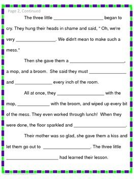 Free! Write a little folktale. Cloze reading/writing activity.