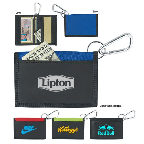 Custom imprinted Velcro wallet with carabiner is an affordable choice of gift for marketers who want to build larger than life impressions on their clients at small budget.  #CustomWallets #FreeShipping #BestSeller