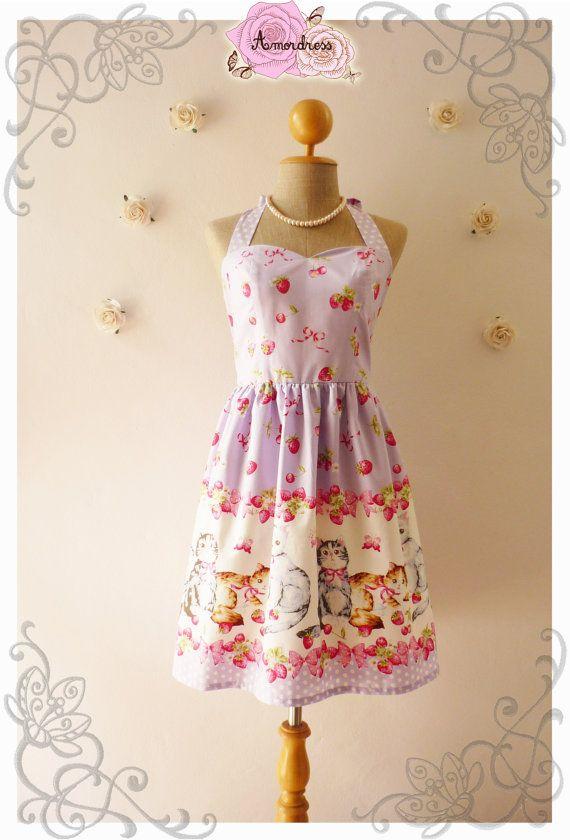 Vintage Inspired Dress Tea Dress Lilac Kitten Dress by Amordress