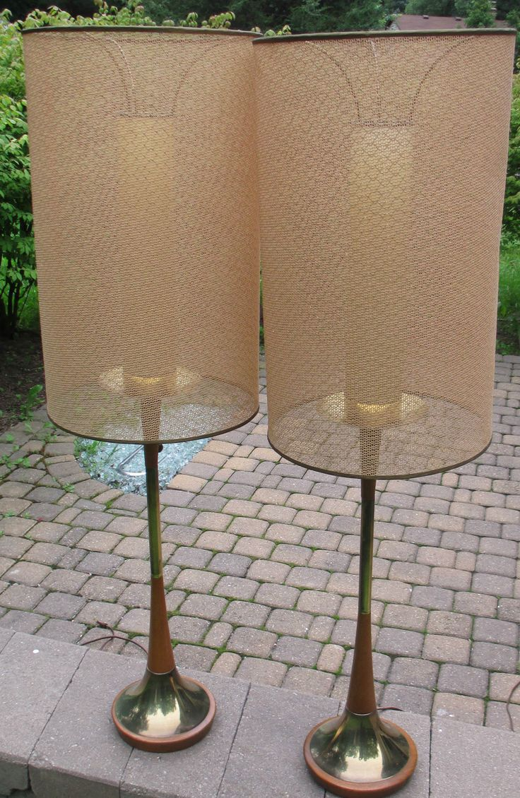 293 best 1950s chalkware majestic atomic lamps images on vintage modeline mid century modern 2 teak brass table lamps gold lurex shade geotapseo Gallery