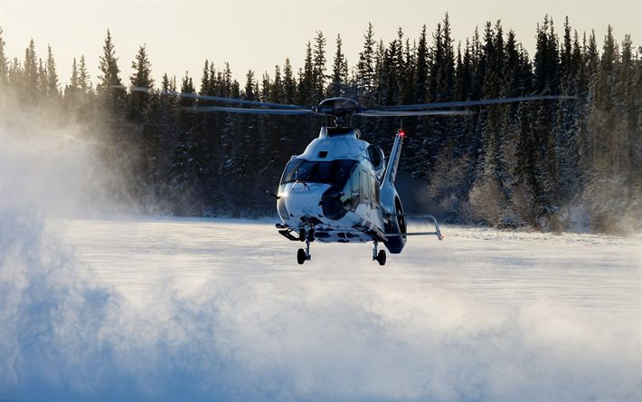 Download wallpapers Airbus H160, civil aviation, passenger helicopters, winter, H160, Airbus