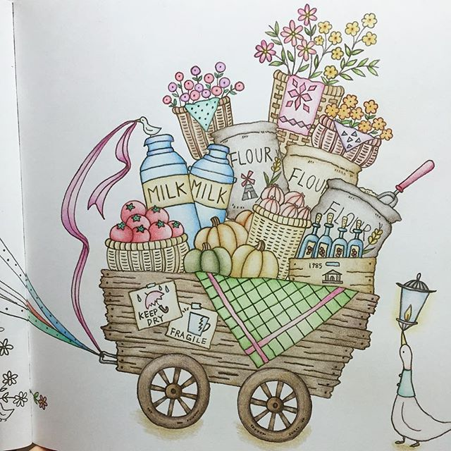 "hijiaeme (지애) on Instagram Eriy ""Romantic Country""  #eriy #romanticcountry #adultcoloring"