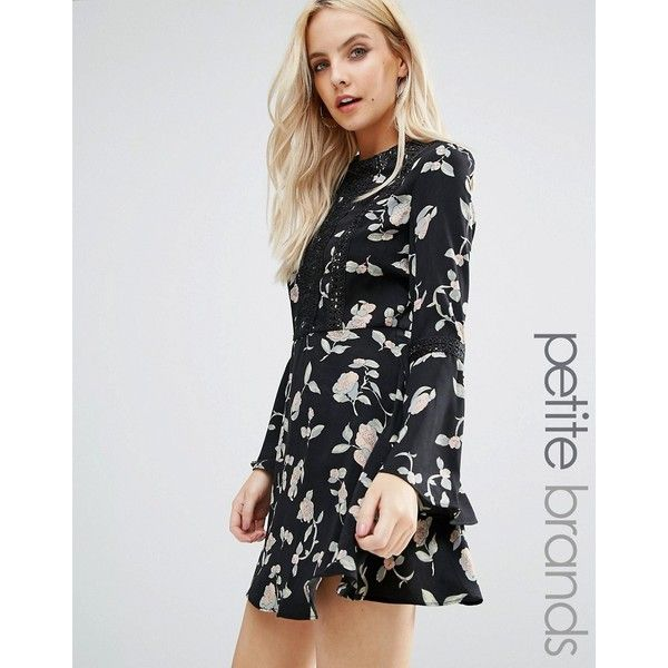 Glamorous Petite Skater Dress With Fluted Sleeve In Floral Print (£18) ❤ liked on Polyvore featuring dresses, black, petite, floral print skater dress, floral skater dress, zipper dress, petite dresses and floral fit-and-flare dresses