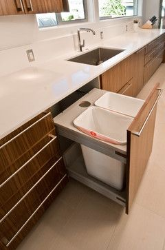 Side by side trash cans instead of front to back.    Waste Bin Pull Out Design Ideas, Pictures, Remodel, and Decor trash to left of sink