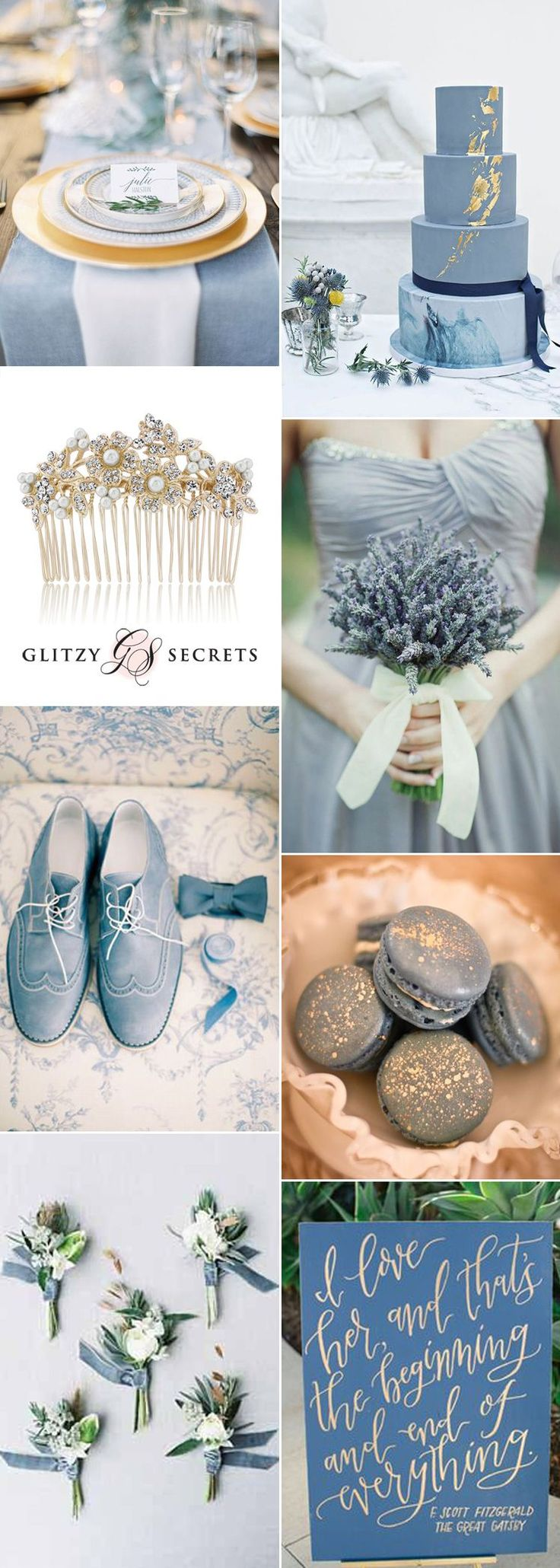 Fabulous dusky blue and antique gold wedding ideas can be a fresh and unique take on a cool autumn color scheme