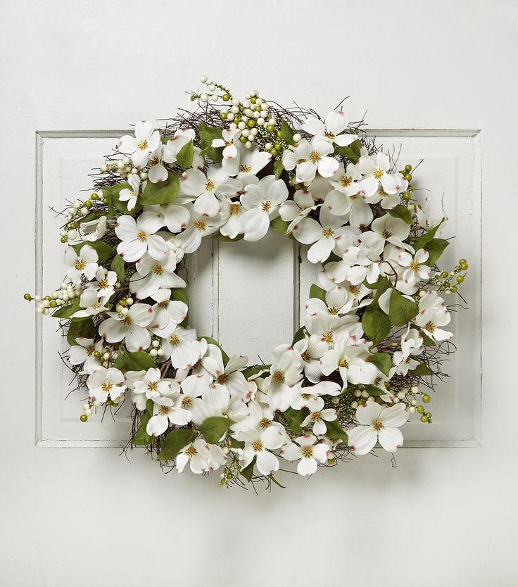 Blooming Spring 22'' Dogwood & Berry Twig Wreath-Cream #mybigday #wedding