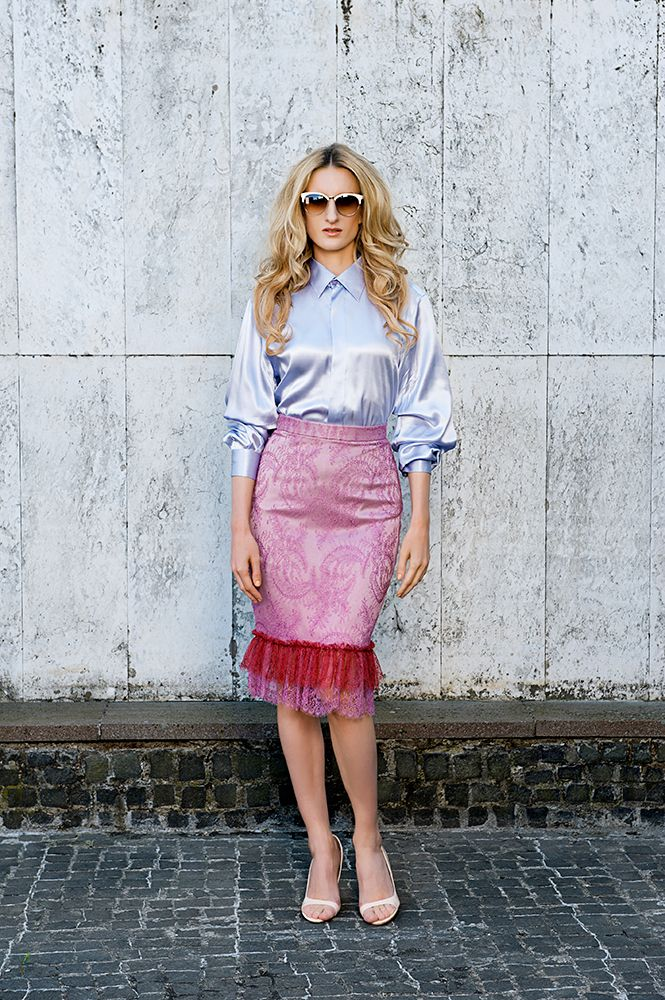 MFD oversized silk satin blouse; satin and French lace tube skirt.