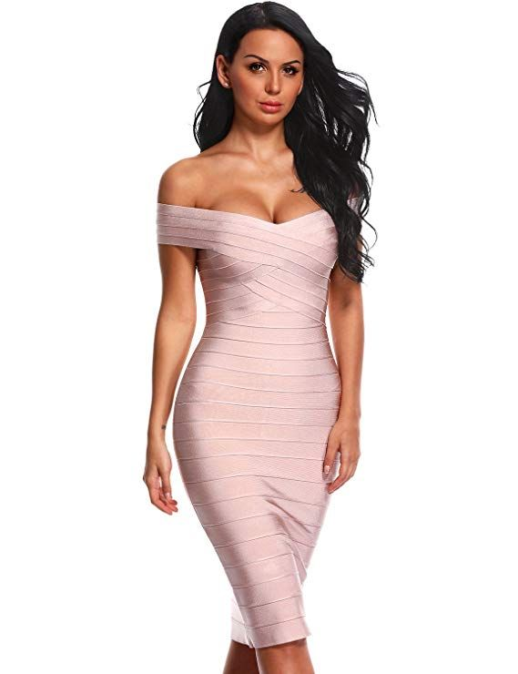 e6ddb23bbbe Hego Women's Off Shoulder Bandage Formal Party Dresses Knee-Length H1282  (L, Nude) at Amazon Women's Clothing store: