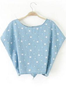 Blue Batwing Short Sleeve Stars Print Denim Blouse