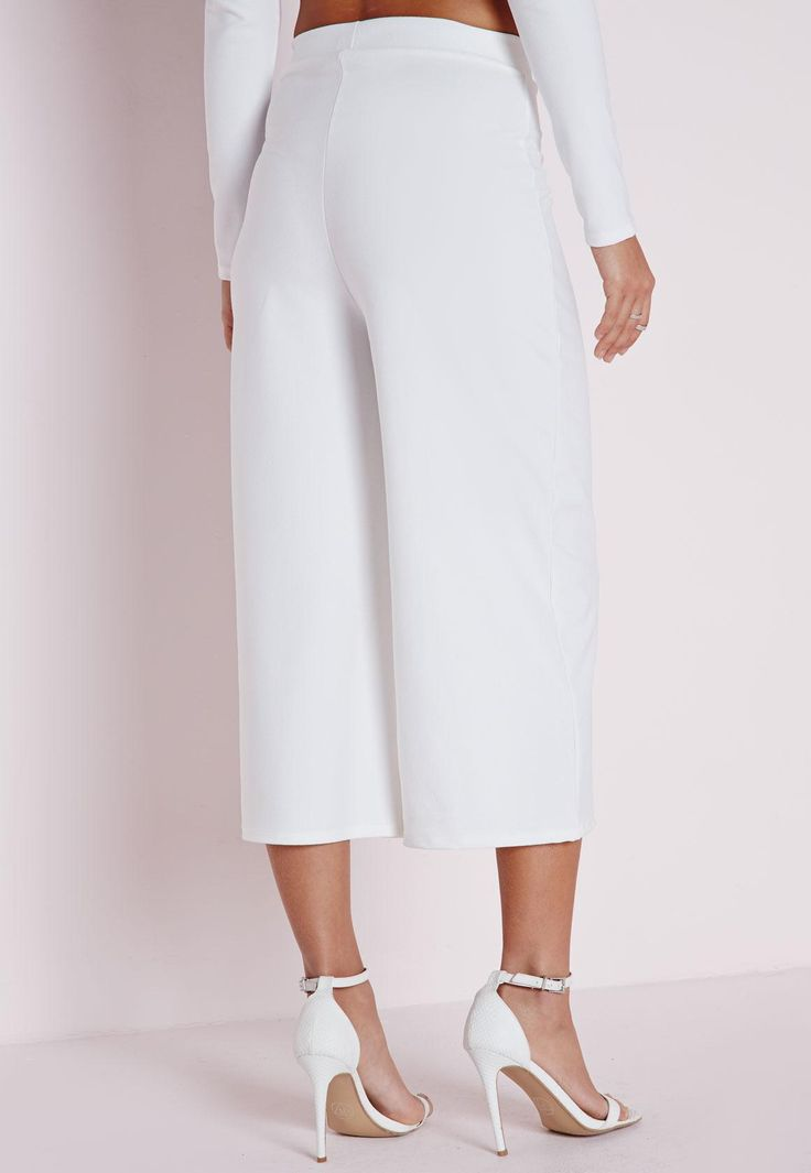 Missguided - High Waisted Crepe Culottes White