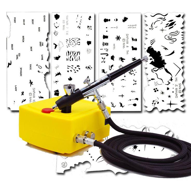 0.2mm 2CC Nail Art Airbrush Mini Air Compressor System Kit &Airbrush Nail Art Stencil Set 100-240V