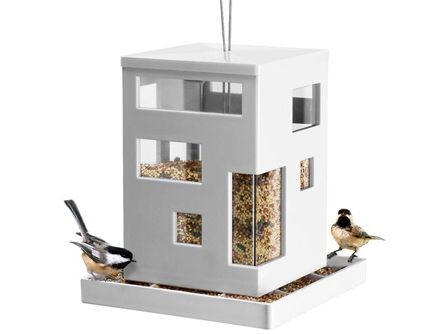 Everyone loves mid-century modern architecture--even birds, it seems. Teddy Luong and Dennis Cheng apply the clean-lined, white aesthetic to Umbra's amazing modern cafe feeder. http://www.ivillage.com/pretty-bird-feeders/7-a-533405