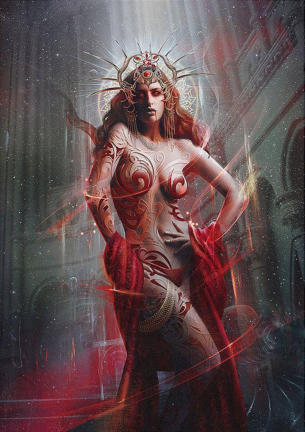 Demon GIrl Fantasy Digital Portrait by Vasylina Holodilina
