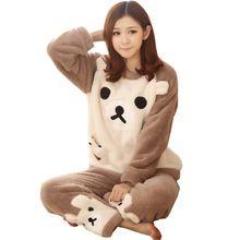 Uwback 2016 inverno mulheres pijama de flanela animais conjuntos de pijama feminino pijamas ursomeninacoral do velo pijamas mujer TB831