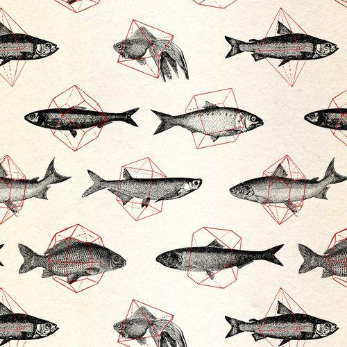 Wallpaper. Repeat Patterns. Illustration. Fish. Geometrics. Great mixture of illustrations here! www.origin-of-style.com