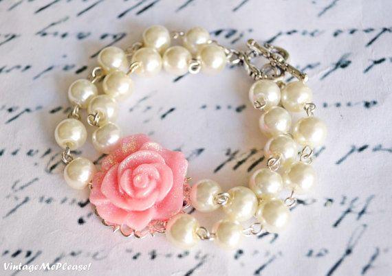 Pearl Bracelet Double Strand Bracelet Flower by VintageMePlease