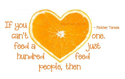 Orange is the color of hunger awareness, and September is the month to Go Orange for No Kid Hungry. Description from bitsofpositivity.com. I searched for this on bing.com/images